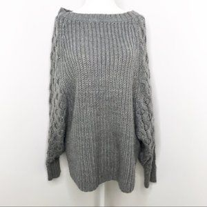 Benetton | Gray Dolman Sleeve Cable Knit Sweater